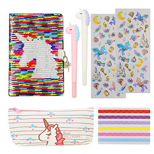 HIFOT Unicorn Stationery Set, Reversible Sequin Unicorn A5 JournalNotebook with Lock for Kids, Unicorn Pencil Case Gen Pens Photo Corner 3D Stickers Gifts for Students Girls School Supplies (7pcs)