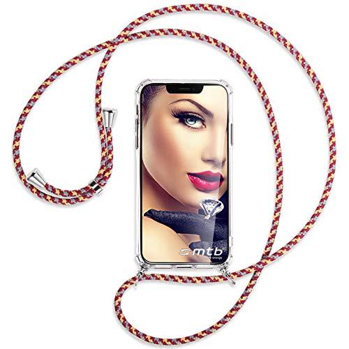 mtb more energy® Handykette kompatibel mit Sony Xperia L2, L2 Dual SIM (5.5'') - rot+gelb gestreift - Smartphone Hülle zum Umhängen - Anti Shock Full TPU Hülle