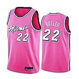 Jimmy Butler # 3 Jersey de Baloncesto para Hombres, Miami Heat Ropa Deportiva para jóvenes Neutral sin Mangas Malla Bordada Baloncesto Swingman Jersey Se Puede Lavar repetidamente-Pink-M(175~180CM)
