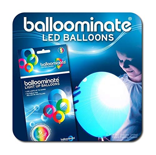 Balloominate Leuchtende LED Luftballons, Party Ballons - blau - 5 Stück - leuchten bis 15 Stunden