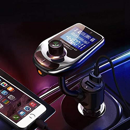 GRX-LYFSQ 5.0 Transmisor FM Bluetooth Coche,Adaptador Bluetooth Coche Reproductor mp3 mechero,Navigation Voice Playback,Dual USB Charging (QC3.0 + 1.0A),F Card/U Disk Play Music