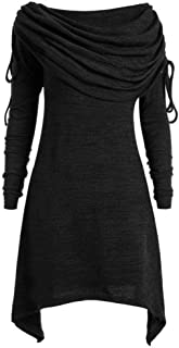 Boat Collar Long Sleeve Mini Dress for Women Irregular Hem Plus Size Solid Ruched Tunic Top Blouse Tops