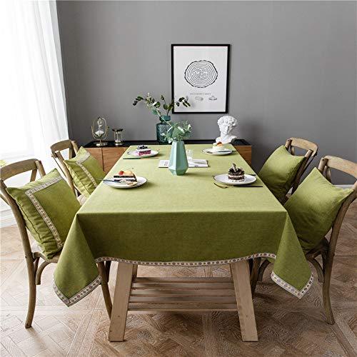 Xiepei Nappe moderne minimaliste en polyester et coton mélangé imperméable en dentelle, Green + Floral Lace, 120CMx160CM