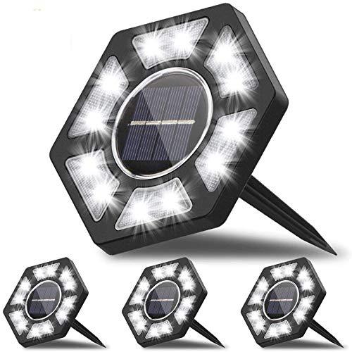 Fenvella Luci Solari per Giardino, LED Lampade Solari da Giardino con Luce Bianca, IP67 Impermeabile Luci da Esterno per Prato, Scala, Paesaggio, Strade(4 Pezzi). [Efficienza Energetica A+++]