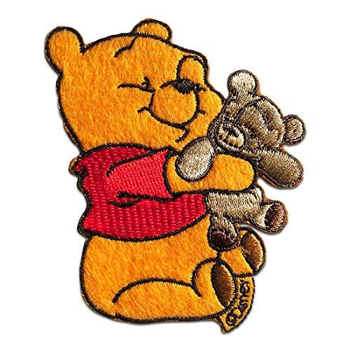 Aufnäher/Bügelbild - Winnie Puuh mit Teddy Disney Comic Kinder - gelb - 7,8x6cm - Patch Aufbügler Applikationen zum aufbügeln Applikation Patches Flicken