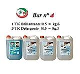 Pip Bar N.4 Confezione da n.3 TK di Detergente lavabicchieri e n.1 TK di Brillantante a ba...