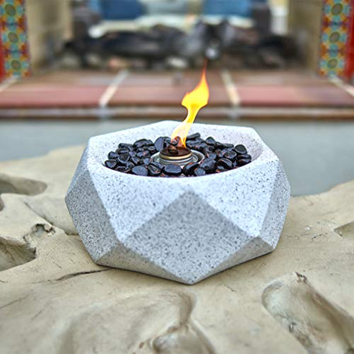 Light Grey Geometric Table Top Fire Bowl, Ventless Outdoor Cement Portable Bio Ethanol Fire Pit, Modern Round Table Fireplace (Geo Bowl)