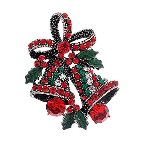 SODIAL 1X Diamante Arco de Campana de Navidad Broche Nupcial de la Boda del Nudo de la Mariposa Pin Rhinestone Cubierto Manton de Las Bufandas de Clip