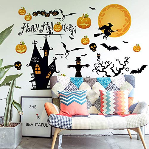 Happy Halloween Home Decor Wall Stickers Witch Bats Spiders Pumpkin Lantern Cat Bedroom Living Room Wall Decals Party…