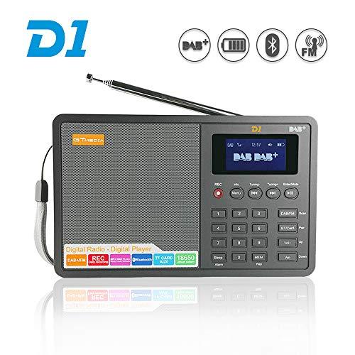 GT MEDIA D1 Tragbares DAB+ Radio (UKW, Bluetooth, TF-Karte, Stereo-Lautsprecher, Kopfhöreranschluss, AUX-IN, Uhr/Wecker/Sleep Timer) 1,8\'\' LCD-Anzeige Externe Antenne und Aufladbare Batterie