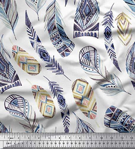 Soimoi Bleu Mousse Georgette en Tissu Plume Africain Tissu Imprime par Metre 42 Pouce Large