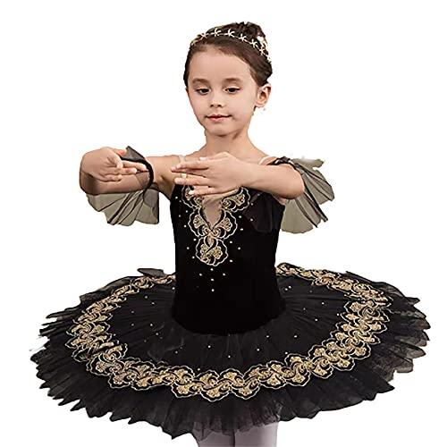 ZYLL Chicas Ballet Tutu Vestido Black Swan Lake Ballet Disfraces para Chicas Faldas Leotard Ballerina Dancewear,160CM