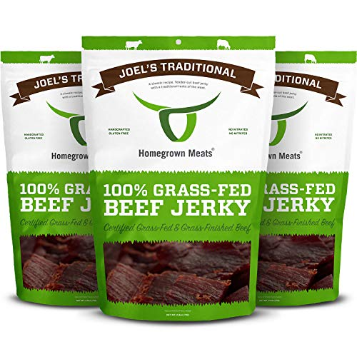 HomeGrown Meats Beef Jerky - Joel's Traditional Healthy 100% Grass Fed Gourmet Snacks [3 PK]