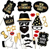 Retirement Photo Booth Props By PartyGraphix - European Made Black and Gold Retirement Party Decorations - Easy To Assemble Funny Retirement Party Prop - Retirement Decorations Kit Includes 34 Pieces
