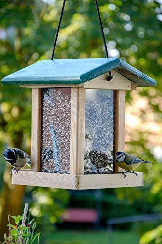 dobar 21097e Futterstation Vogelhaus aus Holz für Vögel, 22 x 25 x 28 cm, grün - 6