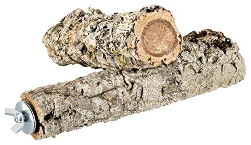 2er-Set Kork Vogel-Sitzstangen aus Naturkork-Rinde | gereinigt | Zum Sitzen, Anknabbern, Knuspern. Sitz-Stange aus natürlichem Kork für Wellensittiche, Kanarienvogel, Papagei u.a. Vögel. Edelstahl