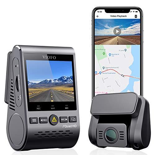 VIOFO Dual Dashcam, 2K 1440P 60fps + 1080P 30fps Front- und Heck Auto Kamera mit Wi-Fi-GPS, Parkmodus, Notfallaufzeichnung, Superkondensator, Bewegungserkennung (A129 Plus Duo)