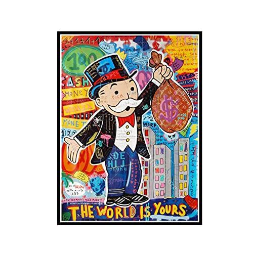 GUICAI Impresiones de Carteles de Lienzo Alec Monopoly Graffiti Art Money The Wall Painting Art Wall Pictures Sala de Estar Decoración para el hogar -50X70 cm Sin Marco 1 Pcs