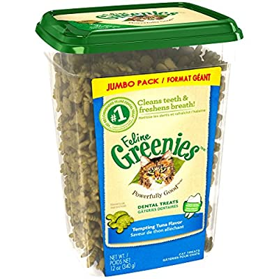 Feline Greenies Dental Treats For Cats Tempting Tuna Flavor 12 Oz. With Natural Ingredients Plus Vitamins, Minerals, And Other Nutrients (Discontinued By Manufacturer)