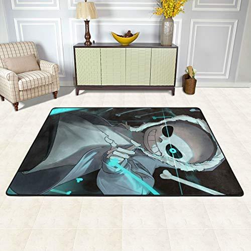 Super Cozy Area Rug, 36x24 Inch Non Slip Machine Washable, Fan Art Sans Anime Undertale Best Floor Mat Carpet for Study Room Bedroom Outdoor Halloween Decor