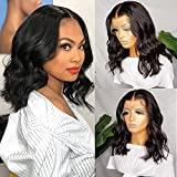 Short Body Wave Human Hair Lace Front Bob Wigs for Black Women Brazilian Hair Wavy Curly 13X4X1 T Part Lace Wig Human Hair Pre Plucked with Baby Hair Natural Color 8 Inch 150% Density