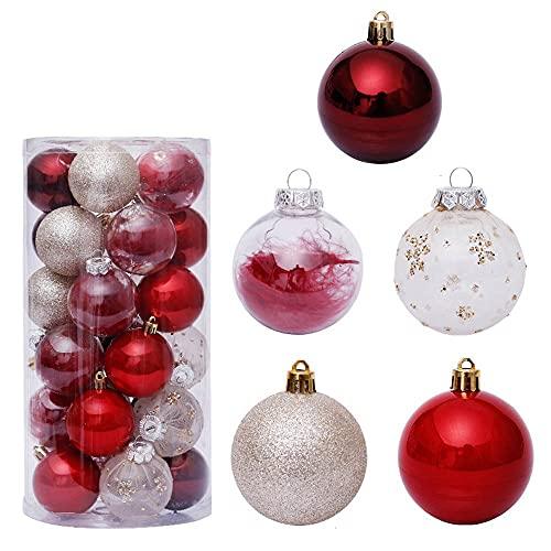 Palle di Natale Pendente dell'albero di Natale Pendente Trasparente Palla di Natale Set di Palline del Centro Commerciale di Nozze Decorazione delle Feste Forniture (6cm 30pcs)