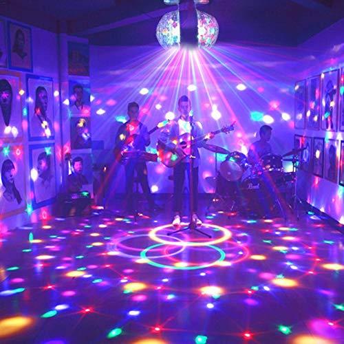 Disco kogellampen, 3 W, E27 RGB, draaibaar licht met twee koppen, kleurrijke stroboscooplamp, LED-lamp, coole podiumlichtdecoratie, van kristal, voor kerstfeesten, vakantiefeesten