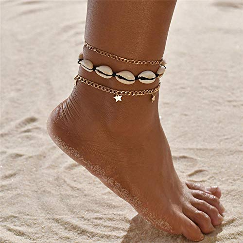 NIUBKLAS Tobillera Pulsera Conjunto de Pulsera Vintage Pulsera Multicapa Ajustable para Mujer Pulsera Foot Beach Jewelry-50252