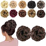 MORICA Messy Hair Bun Extensions 2PCS Curly Wavy Messy Synthetic Chignon Hairpiece Scrunchie Scrunchy Updo Hairpiece for women (8#Medium Brown)