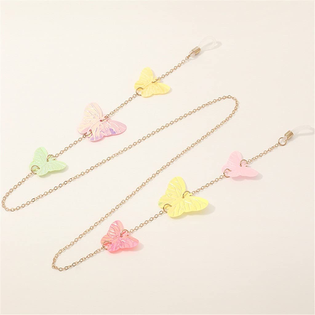 YFQHDD Asymmetric Color Butterfly Lanyard Hold Straps Cords Reading Glasses Chain Fashion Women Sunglasses Accessories (Color : A, Size : Length-70CM)