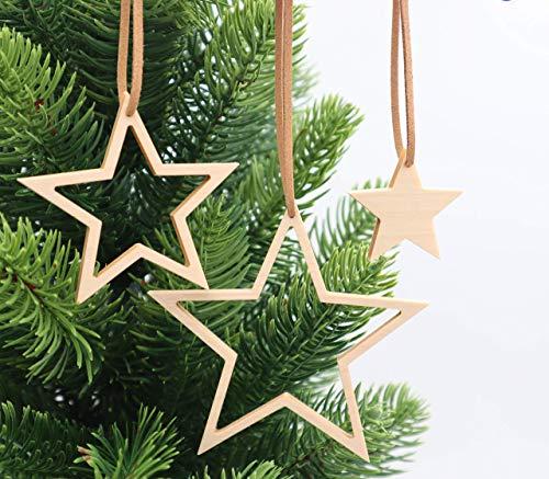 Weihnachtsdekoration Set 3-teilig aus Holz, handmade, nachhaltig, Adventsstern, Weihnachtsbaumschmuck, Christbaumschmuck, Holzanhänger, Fensteranhänger