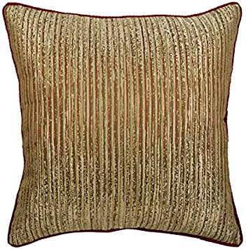 Gold Brush by helenpdesigns Abstract Gold Throw Pillow Brush Strokes  Painterly Decor 18x18 Square Throw Pillow by Spoonflower