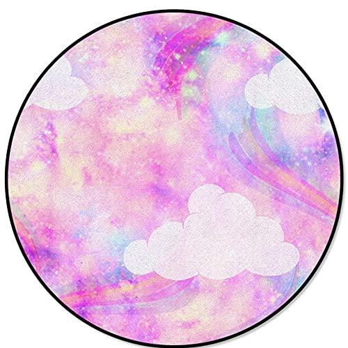 Fantasia Nuvola Arcobaleno Colori Modello Rotondo Area Bambini Tappeto Tappetino Soggiorno Camera Da Letto Tappeto Tappeto Tavolino Tappetino-D 80