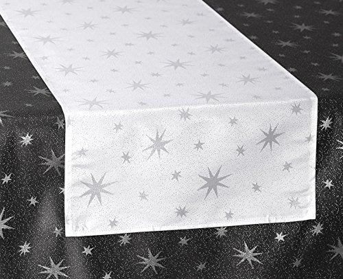 Lurex Sterne Tischläufer, Gold oder Silber glänzend, Weihnachtstischband Größe wählbar (Eckig 40x140 cm Weiss-Silber)