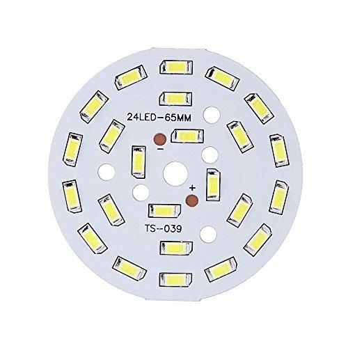 SODIAL(R) 12W Redondo 5730 SMD Placa de lampara 24 LED super brillante luz de chip LED Bombilla lampara LED DC 36-41V blanco