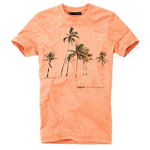 DEPARTED Herren T-Shirt mit Print/Motiv 3827-230 - New fit Größe M, Sunset orange Triblend