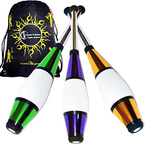 EURO PRO Juggling Clubs Set of 3 (12 Colour Combos!) Metallic Deco Trainer Clubs + Flames N Games Travel Bag! Great Club Juggling Set For Beginners & Advanced Jugglers! (Green/Purple/Gold)