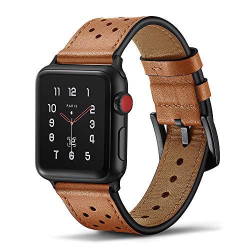 Tasikar Armband Kompatibel mit Apple Watch Armband 42mm 44mm Premium Echte Leder Design für Apple Watch SE Series 6 Series 5 Series 4 (44mm) Series 3/2 / 1 (42mm) - Braun