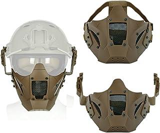 Militair Samurai Halfgelaatsmasker, Metal Mesh Eye Tactical Airsoft Paintball-Maskers, Met Helmbril Pak, Voor CS Paintball...