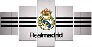 Chicicio Real Madrid Poster Wall Decor for Home Painting 5 Piece Canvas Prints Soccer Flag Wall Art Picture Football Poster with Frame Ready to Hang(60''Wx32''H)