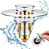 Berytta Bathroom Sink Stopper, Upgraded Stainless Steel Sink Drain Strainer, Anti Clogging Bounce Spring Core Drain Filter, No Overflow Sink Drain Plug with Basket, Only for 1.08~1.34in Drain Hole