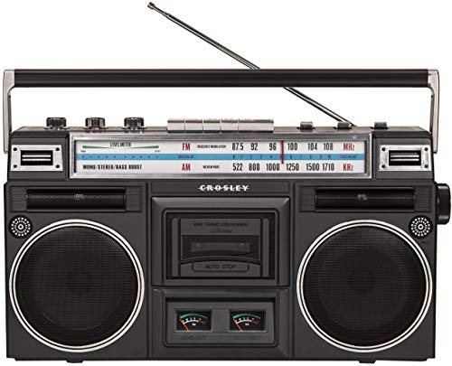 Crosley CT201A-BK Retro Bluetooth Boombox Cassette Player with AM/FM Radio and Bass Boost, Black