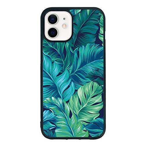 Banana Leaf Phone Case for iPhone 12/12 Pro 6.1 Inch - Shockproof Protective TPU Aluminum Cool Cute Tropical Phone Case Designed for iPhone 12/12 Pro Case for Girls Women Green