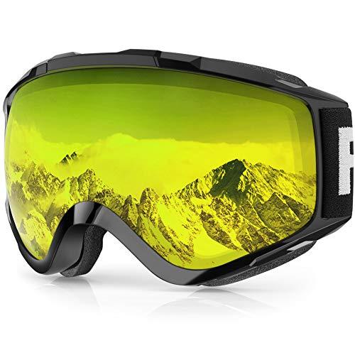 findway Skibrille, Snowboard Brille für Brillenträger Herren Damen Erwachsene Jugendliche OTG UV-Schutz Kompatibler Helm Anti Fog Skibrillen Sphärisch Verspiegelt (Gelb (VLT 82.78%))