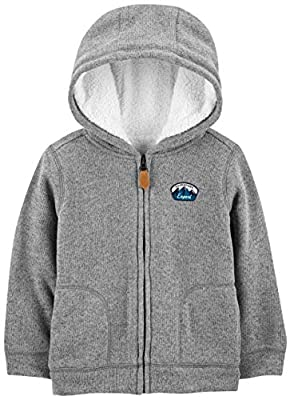 Simple Joys by Carter's Boys' Toddler Hooded Fleece Jacket with Sherpa Lining, Gray, 3T