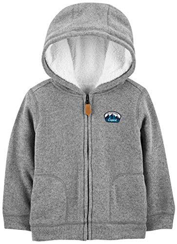 Simple Joys by Carter's Hooded Fleece Jacket With Sherpa Lining Fleecejacke, grau, 3T