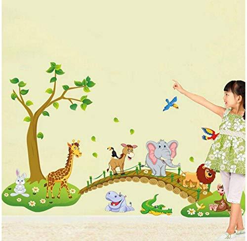 Behang Muren 60 * 90Cmlarge Jungle Dieren Olifant Leeuw Giraffe Vogel 3D Muursticker Kids Kwekerij Decals Meisjes Slaapkamer Mural Hot Koop