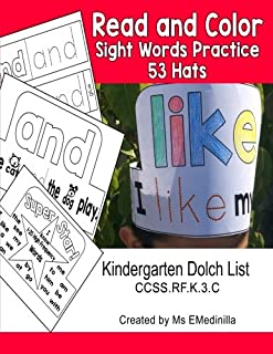 Read and Color Sight Words Practice 53 Hats: Kindergarten Dolch List CCSS.RF.K.3.C