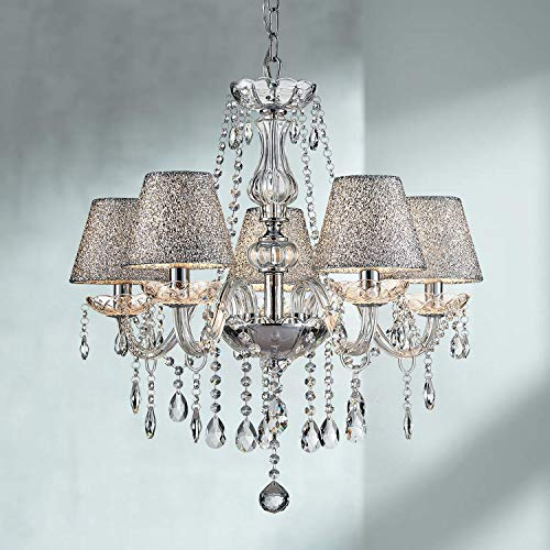 Saint Mossi Moderne Kristallglas Kronleuchter Beleuchtung Decken Kronleuchter Lampe 5 Arme mit E14 Sockel Chrome Finish Silver Shade