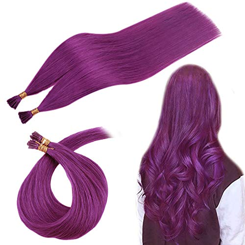RUNATURE Remy Hair I Tip Extensions, Purple Color